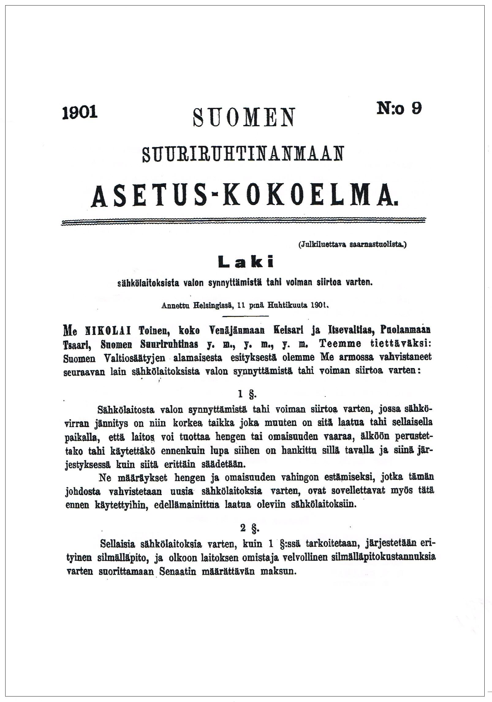 sähkölaki asetus 1902 s1